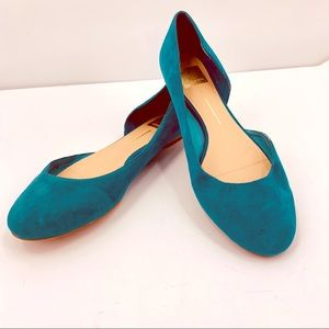 Dolce Vita Teal Suede D'Orsay Flats Size 9.5
